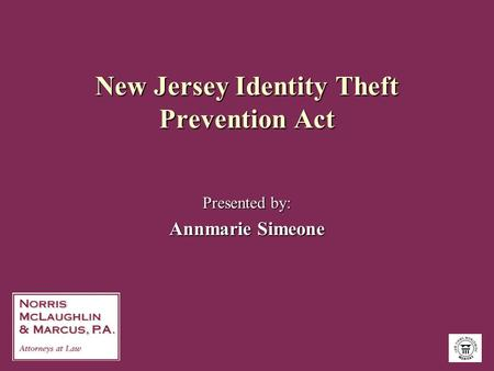 New Jersey Identity Theft Prevention Act Presented by: Annmarie Simeone.