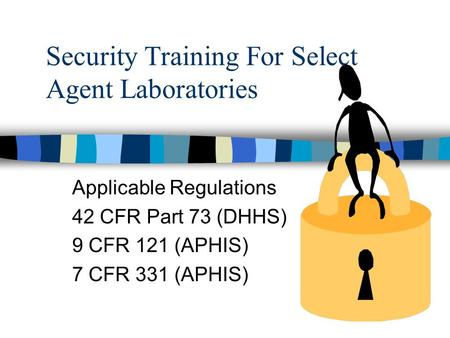 Security Training For Select Agent Laboratories Applicable Regulations 42 CFR Part 73 (DHHS) 9 CFR 121 (APHIS) 7 CFR 331 (APHIS)