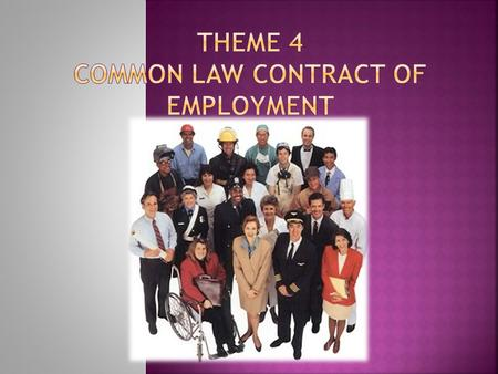 Theme 4 Common Law Contract of Employment