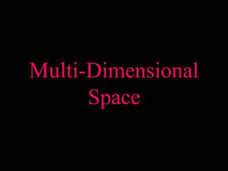 Multi-Dimensional Space. What is it? Our mental perception of the environment. An infinite amount of space. The way in which we move is by the effects.
