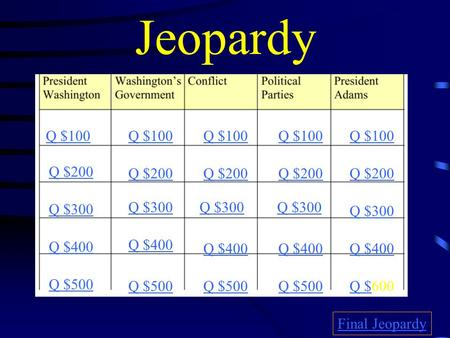 Jeopardy Q $100 Q $200 Q $300 Q $400 Q $500 Q $100 Q $200 Q $300 Q $400 Q $500 Q $Q $600 Final Jeopardy.