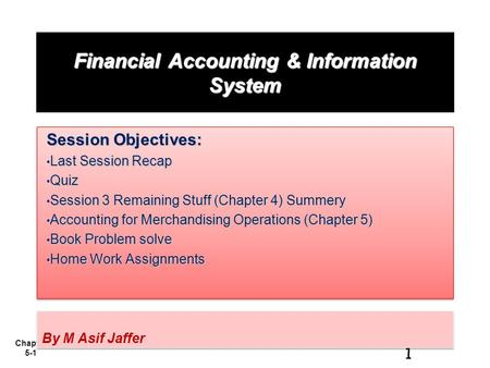 Chapter 5-1 Financial Accounting & Information System Session Objectives: Last Session Recap Last Session Recap Quiz Quiz Session 3 Remaining Stuff (Chapter.