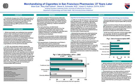 Merchandising of Cigarettes in San Francisco Pharmacies: 27 Years Later Brian Eule 1, Mary Kate Sullivan 2, Steven A. Schroeder, M.D. 1, Karen S. Hudmon,
