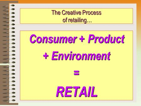 The Creative Process of retailing… Consumer + Product + Environment =RETAIL.