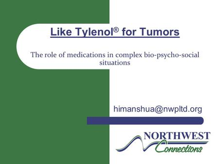 Like Tylenol ® for Tumors The role of medications in complex bio-psycho-social situations