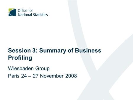Session 3: Summary of Business Profiling Wiesbaden Group Paris 24 – 27 November 2008.