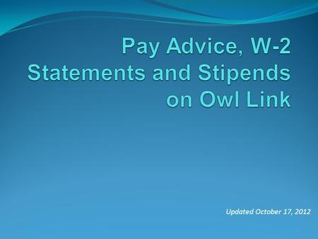 Updated October 17, 2012. Click on Owl Link at the top of the page.