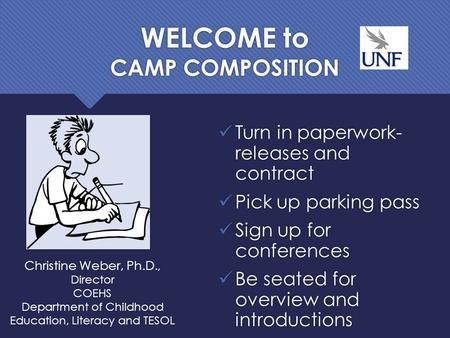 WELCOME to CAMP COMPOSITION Turn in paperwork- releases and contract Pick up parking pass Sign up for conferences Be seated for overview and introductions.
