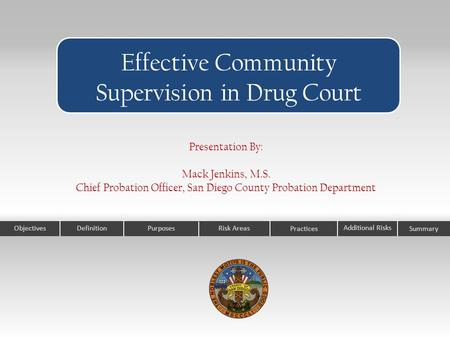 ObjectivesPurposesRisk Areas Practices Effective Community Supervision in Drug Court Additional Risks Definition Presentation By: Mack Jenkins, M.S. Chief.