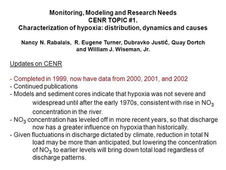 Monitoring, Modeling and Research Needs CENR TOPIC #1. Characterization of hypoxia: distribution, dynamics and causes Nancy N. Rabalais, R. Eugene Turner,