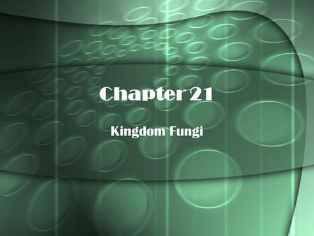 Chapter 21 Kingdom Fungi.