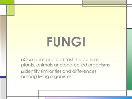 FUNGI Compare and contrast the parts of plants, animals and one-celled organisms Identify similarities and differences among living organisms.