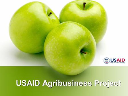 USAID Agribusiness Project. 5 year project from Sept 28, 2007 – Sept 27, <strong>2012</strong> Implementing Partners: DAI, BAH, IRD, Michigan State University Total Value.