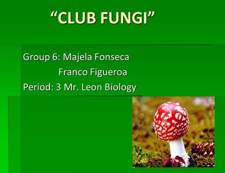 """CLUB FUNGI"" Group 6: Majela Fonseca Franco Figueroa Franco Figueroa Period: 3 Mr. Leon Biology."