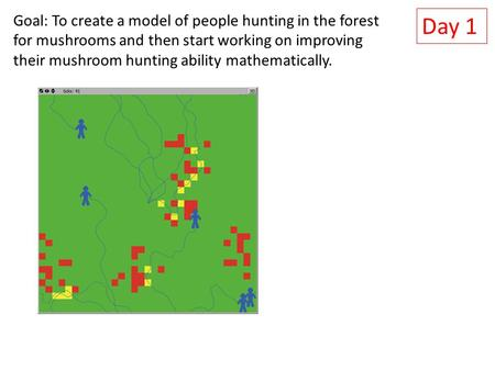 Day 1 Goal: To create a model of people hunting in the forest for mushrooms and then start working on improving their mushroom hunting ability mathematically.