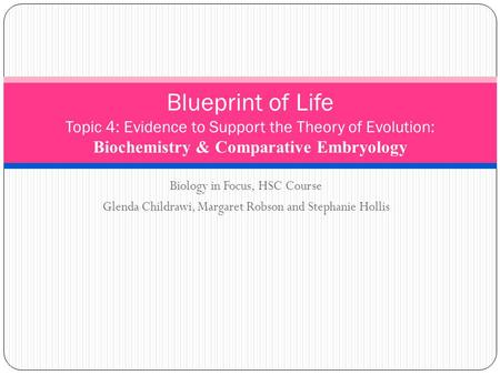 Blueprint of Life Topic 4: Evidence to Support the Theory of Evolution: Biochemistry & Comparative Embryology Biology in Focus, HSC Course Glenda Childrawi,