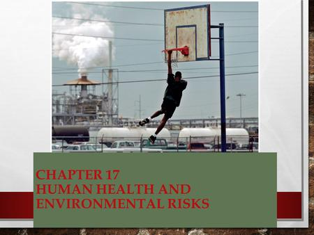 CHAPTER 17 HUMAN HEALTH AND ENVIRONMENTAL RISKS. THREE CATEGORIES OF HUMAN HEALTH RISKS PHYSICAL – EXCESSIVE EXPOSURE TO UV RADIATION OR RADON BIOLOGICAL.