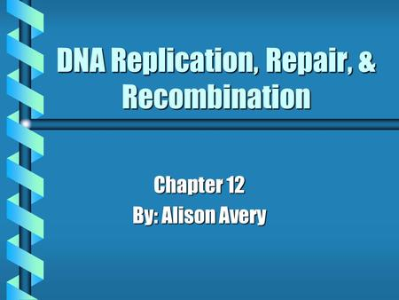 DNA Replication, Repair, & Recombination Chapter 12 By: Alison Avery.