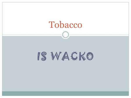 IS WACKO Tobacco. Tobacco: A tall, leafy annual plant originally grown in South and Central America. Nicotine: A stimulant that is naturally found in.