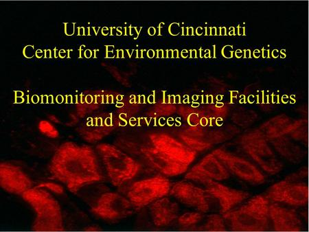 University of Cincinnati Center for Environmental Genetics Biomonitoring and Imaging Facilities and Services Core.