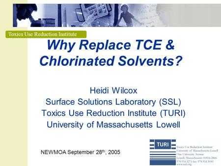 Why Replace TCE & Chlorinated Solvents?
