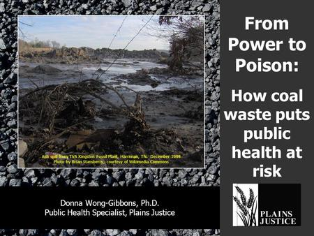 From Power to Poison: How coal waste puts public health at risk Donna Wong-Gibbons, Ph.D. Public Health Specialist, Plains Justice Ash spill from TVA Kingston.