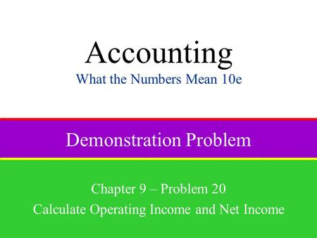 Demonstration Problem Chapter 9 – Problem 20 Calculate Operating Income and Net Income Accounting What the Numbers Mean 10e.
