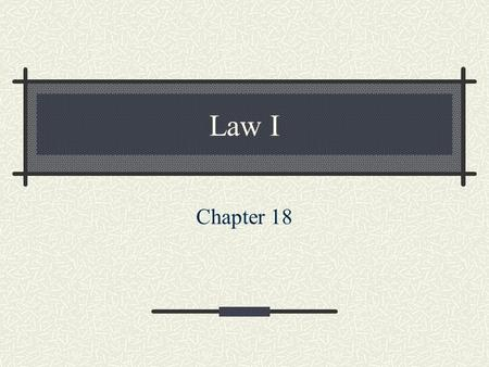 Law I Chapter 18. Torts: A Civil Wrong Pages 210 - 229.