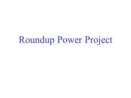 Roundup Power Project. Development Participants (Bank's independent consultant)
