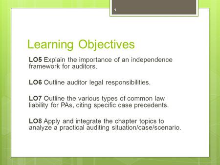 Learning Objectives LO5 Explain the importance of an independence framework for auditors. LO6 Outline auditor legal responsibilities. LO7 Outline the various.