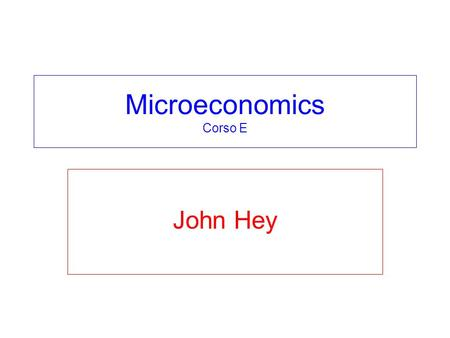 Microeconomics Corso E John Hey. Part 3 - Applications Chapter 19 – variations. Chapters 20, 21 and 22 – intertemporal choice. Chapters 23, 24 and 25.