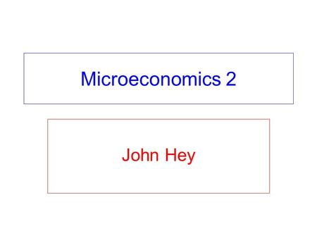 Microeconomics 2 John Hey. Intertemporal Choice Chapter 20 – the budget constraint, intertemporal preferences in general and choice in general Chapter.