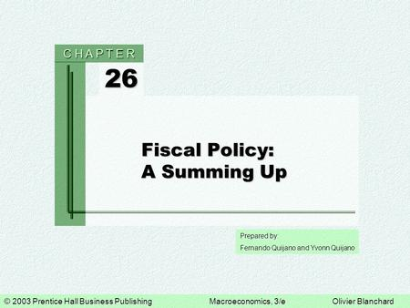 Fiscal Policy: A Summing Up