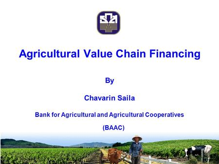 Agricultural Value Chain Financing By Chavarin Saila Bank for Agricultural and Agricultural Cooperatives (BAAC)