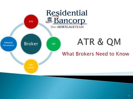 What Brokers Need to Know Broker ATRQM Safe Harbor Rebuttal Presumption 1.