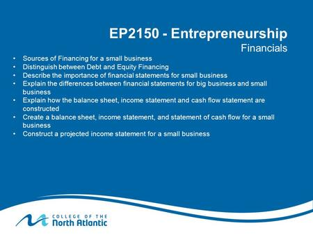 EP Entrepreneurship Financials