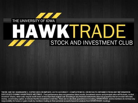 THERE ARE NO WARRANTIES, EXPRESSED OR IMPLIED, AS TO ACCURACY, COMPLETENESS, OR RESULTS OBTAINED FROM ANY INFORMATION DISCUSSED DURING HAWKTRADE MEETINGS.
