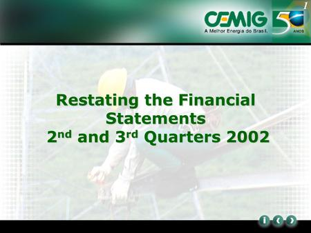 1 Restating the Financial Statements 2 nd and 3 rd Quarters 2002.