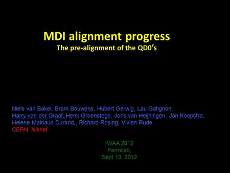 MDI alignment progress The pre-alignment of the QD0's Niels van Bakel, Bram Bouwens, Hubert Gerwig, Lau Gatignon, Harry van der Graaf, Henk Groenstege,