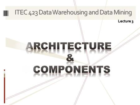 ITEC 423 Data Warehousing and Data Mining Lecture 3.