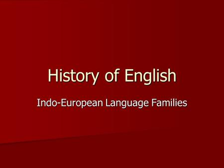 Indo-European Language Families