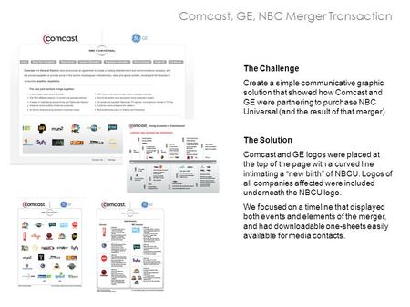 Comcast, GE, NBC Merger Transaction The Challenge Create a simple communicative graphic solution that showed how Comcast and GE were partnering to purchase.