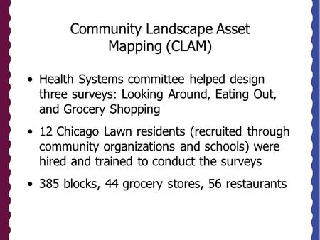Community Landscape Asset Mapping (CLAM) Health Systems committee helped design three surveys: Looking Around, Eating Out, and Grocery Shopping 12 Chicago.