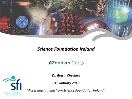 "Research for Ireland's Future Science Foundation Ireland Dr. Roisin Cheshire 31 st January 2013 "" Accessing funding from Science Foundation Ireland"""