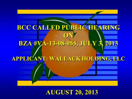 AUGUST 20, 2013 BCC CALLED PUBLIC HEARING ON BZA #VA-13-08-055, JULY 3, 2013 APPLICANT: WALLACK HOLDING, LLC.