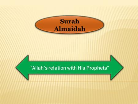 "Surah Almaidah ""Allah's relation with His Prophets"""