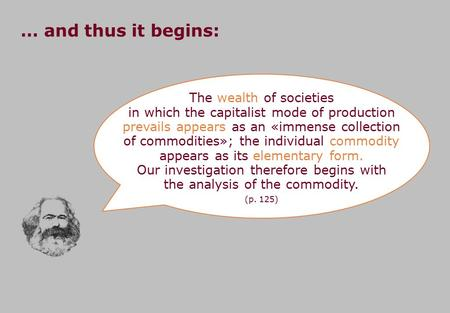 The wealth of societies in which the capitalist mode of production prevails appears as an «immense collection of commodities»; the individual commodity.