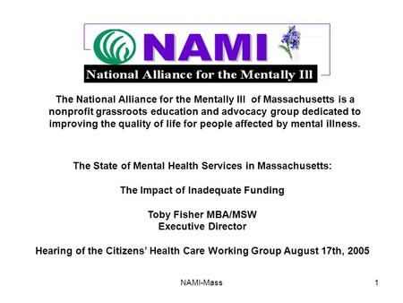 NAMI-Mass1 The National Alliance for the Mentally Ill of Massachusetts is a nonprofit grassroots education and advocacy group dedicated to improving the.