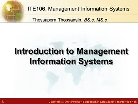 Introduction to Management Information Systems