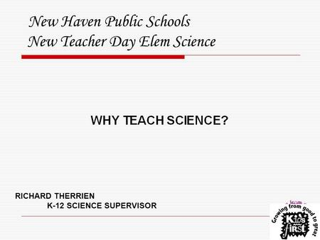 New Haven Public Schools New Teacher Day Elem Science